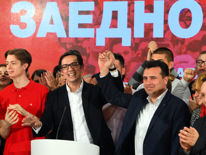 epa07549945 Stevo Pendarovski (L), the candidate of the ruling Social Democratic Union of Macedonia (SDSM) celebrates with Prime Minister Zoran Zaev (R) after declaring election victory in Skopje, North Macedonia, 05 May 2019. More than 1.8 million voters were eligible to choose between two candidates for a President of North Macedonia in the second round of elections.  EPA-EFE/GEORGI LICOVSKI