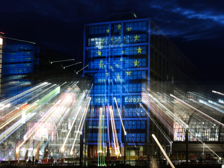 epa07552029 The main train station is lighted with the colors of the European flag in Berlin, Germany, 06 May 2019. The German railway company Deutsche Bahn is promoting cheaper train tickets across Europe ahead of the coming European elections at the end of the month.  EPA-EFE/FELIPE TRUEBA
