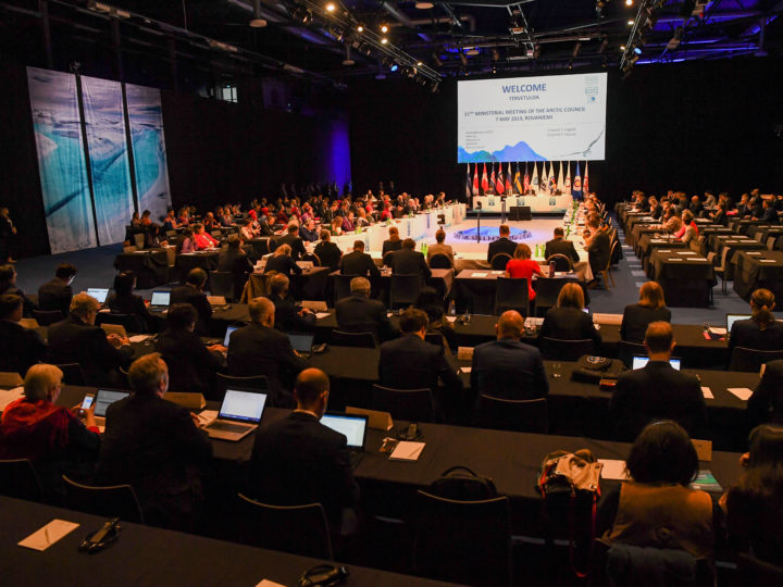 epa07552905 General view at the Ministerial Meeting in Lappia Hall, Rovaniemi, Finland, 07 May 2019. The 11th Arctic Council Ministerial runs from 06 to 07 May 2019. Finland, which led the Arctic Council from 2017-2019, will pass the chairmanship of the high-level intergovernmental forum to Iceland during the meeting.  EPA-EFE/KIMMO BRANDT