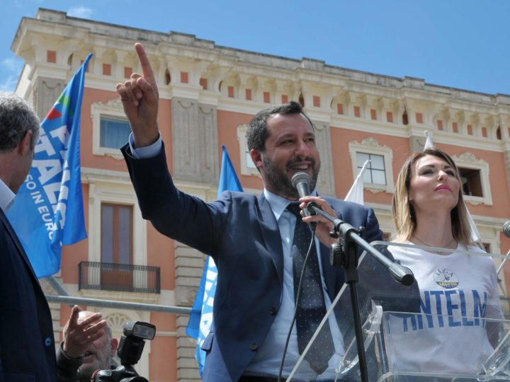 epa07589302 Italian Deputy Premier and Interior Minister, Matteo Salvini (C), attends an election campaign rally in Lecce, southern Italy, 21 May 2019. Matteo Salvini is campaigning for his right-wing Lega (League) party in the upcoming European election.  EPA-EFE/CLAUDIO LONGO