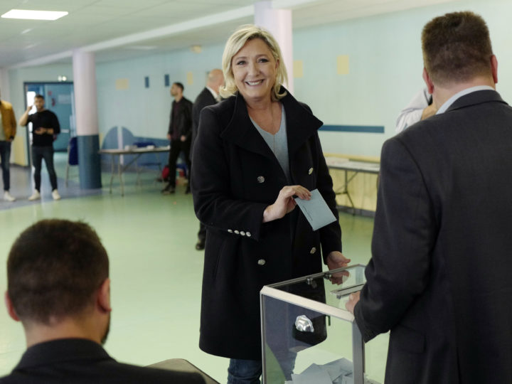 epa07601676 French far-right Rassemblement National (RN) President and member of Parliament Marine Le Pen casts her vote during the European elections in Henin Beaumont, northern France, 26 May 2019. The European Parliament election is held by member countries of the European Union (EU) from 23 to 26 May 2019.  EPA-EFE/THIBAULT VANDERMERSCH