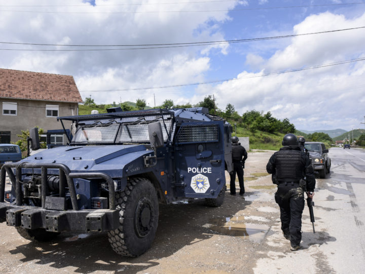 epa07607385 Kosovo's police special unit secure the area near the village of Cabra, northern Kosovo, 28 May 2019. Two police officers were wounded as local Serbs resisted the major anti-smuggling operation, where dozens people were arrested in Serb dominated northern part of the country.  EPA-EFE/STRINGER