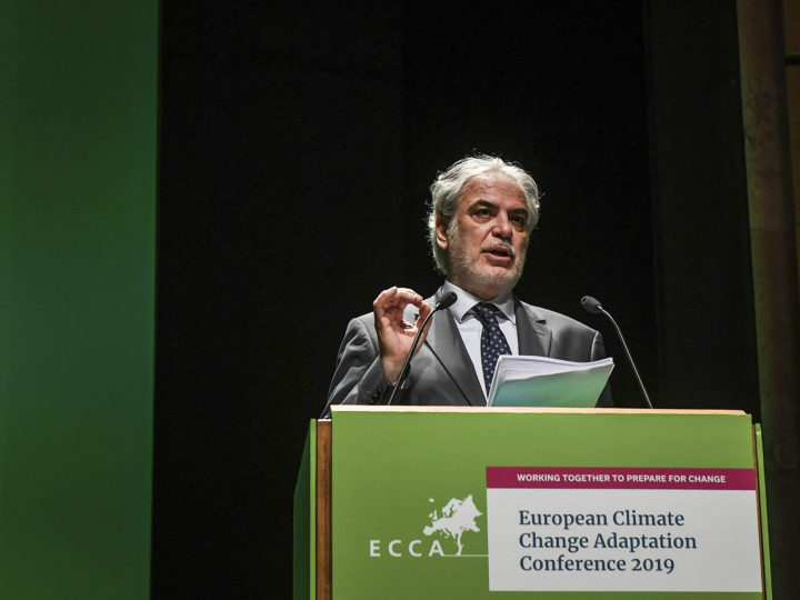 European Commissioner for Humanitarian Aid and Crisis Management Christos Stylianides delivers a speech at the 4th European Climate Change Adaptation Conference at Belem Cultural Center in Lisbon on May 28, 2019.
