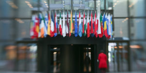 epa05853861 (FILE) - A file picture dated 12 February 2014 and made with a tilt-shift lens shows the flags of the European Union (EU) member states at the entrance of the Council building in Brussels, Belgium. The 60th anniversary of the signing of the Treaty of Rome is marked on 25 March 2017. The treaty was signed on 25 March 1957 at Campidoglio Palace in Rome by Belgium, France, Italy, Luxembourg, the Netherlands and West Germany to form the European Economic Community (ECC). It continues to be one of the most important ones in the history of the European Union (EU).  EPA/OLIVIER HOSLET