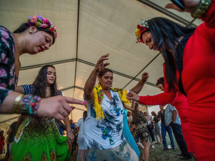 epa06196659 Gypsy pilgrims dance during the annual festival held in celebration of the birthday of the Blessed Virgin Mary near the Catholic chapel of Szentkut in Csatka, 118 kms west of Budapest, Hungary, 09 September 2017 (issued 10 September). The Csatka Pilgrimage is the most important religious holiday of the Olah clan of the gypsy people living in the Carpathian Base.  EPA-EFE/Zoltan Balogh HUNGARY OUT ATTENTION: This Image is part of a PHOTO SET