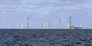 epa07017608 A general view of the wind farm 'Arkona' in the German Baltic Sea near the island of Ruegen, Germany, 13 September 2017. The currently largest wind farm in the Baltic Sea is in its final construction phase with 40 of the planned 60 wind turbines already built. The last turbine is expected to be installed by the end of October 2018. The wind park with a capacity of producing up to 385 megaWatts of electric power costs 1.2 billion euros. It is planned to start its electricity production at the beginning of the year 2019.  EPA-EFE/JENS KOEHLER