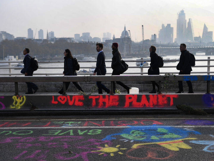 epa07509378 Pedestrians walk over Waterloo Bridge during climate change protests in London, Britain, 16 April 2019. Waterloo Bridge remains closed as Extinction Rebellion protests continue. The London Metroplitan Police report on 16 April 2019 that there have been 113 arrests in total, all those arrested are aged 18 or above. Extinction Rebellion, which is calling on the British government to reduce carbon emissions to zero by 2025, wants to 'shut down London' until 29 April 2019 with a series of protests.  EPA-EFE/ANDY RAIN