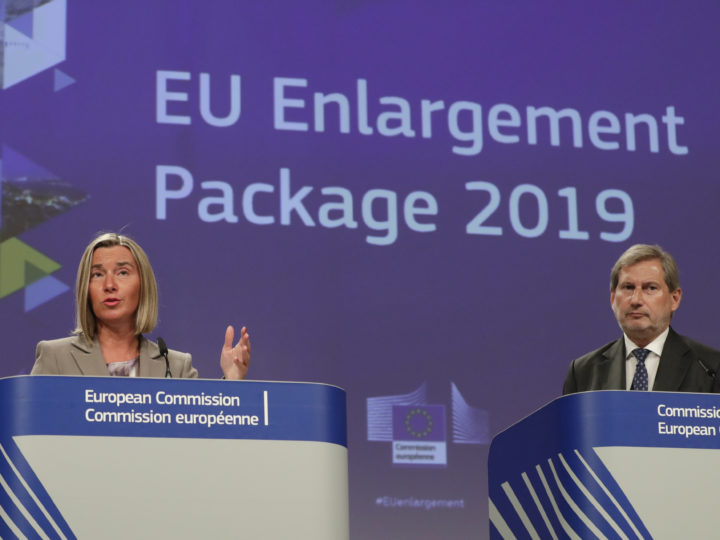 epa07609919 European Union foreign policy chief Federica Mogherini (L) and EU commissioner for enlargement Negotiations Johannes Hahn (R) gives a press conference on EU enlargement Package 2019 in Brussels, Belgium, 29 May 2019.