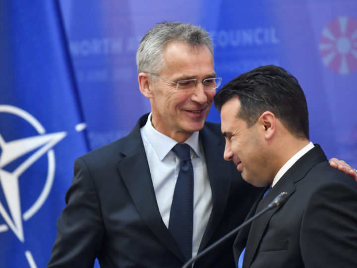 epaselect epa07622002 NATO Secretary General Jens Stoltenberg (L) and North Macedonia Prime Minister Zoran Zaev (R) react after a joint press conference in Skopje, North Macedonia, 03 June 2019. Stoltenberg is on a two-day official visit to North Macedonia, which is expected to become the next country to join the North Atlantic Treaty Organization (NATO).  EPA-EFE/GEORGI LICOVSKI