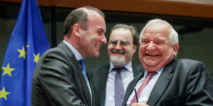 epa07626969 German Manfred Weber of European People's Party and Candidate as next President of the European Commission (L) and Joseph Daul, president of EPP (European People's Party) attend an EPP group meeting to elect the group Vice-Chairs at the European Parliament in Brussels, Belgium, 05 June 2019.  EPA-EFE/STEPHANIE LECOCQ