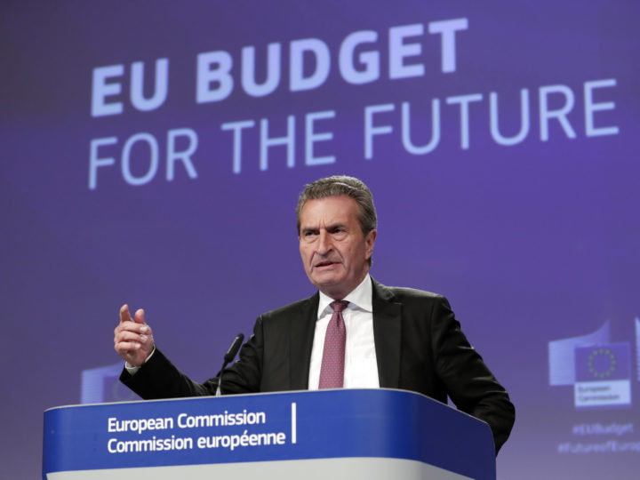 epa07645184 EU Budget Commissioner Guenther Oettinger speaks during a press conference on the budgent proposal in Brussels, Belgium, 13 June 2019. The Commissioner called on leaders to intenisfy efforts to reach an agreement on the Union?s long-term budget for 2021-2027.  EPA-EFE/OLIVIER HOSLET