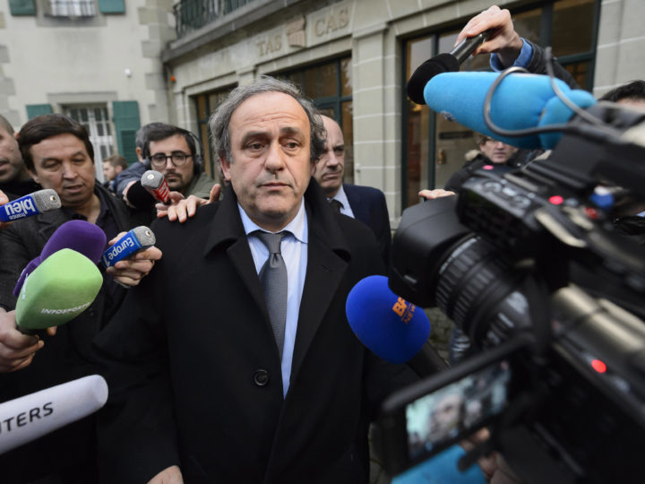 epa07655190 (FILE) - UEFA president Michel Platini (C) leaves after a hearing at the international Court of Arbitration for Sport (CAS) in Lausanne, Switzerland, 08 December 2015 (re-issued 18 June 2019). Former UEFA president Michel Platini has been arrested as part of an investigation in the Qatar 2022 World Cup bid, media reports claimed on 18 June 2019. Platini is believed to have been taken to the office of the Anti-Corruption Office of the Judicial Police (OCLCIFF) in Nanterre, near Paris, France.  EPA-EFE/LAURENT GILLIERON