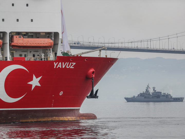 epa07660397 The Turkish drilling vessel Yavuz (L) leaves from Dilovasi port as a Turkish military ship accompanies it, in Kocaeli, Turkey, 20 June 2019. Turkey's second drilling ship will operate off the Karpas Peninsula to the northeast of the island of Cyprus. Yavuz will be determined by geology and geophysics studies of the vessel and it will take place at a depth of approximately 1,000 meters on the seabed and some 3,000 meters of drilling will be made, Bilgin said, adding that the ship will move to its second location once the first drill is completed.  EPA-EFE/ERDEM SAHIN
