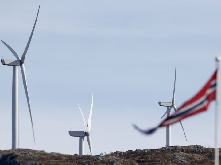 epa07478792 Wind turbines in Midtfjellet wind farm in Fitjar, Norway, 01 April 2019. The Norwegian Water Resources and Energy Directorate (NVE) submitted its proposal for a national framework for wind power on land. In the proposal, NVE points out 13 areas in Norway as the most suitable for developing wind power on land.  EPA-EFE/Jan Kare Ness  NORWAY OUT