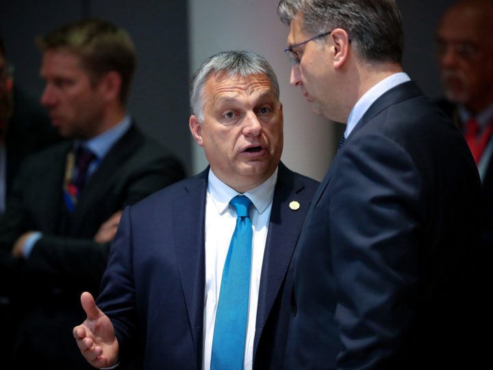 Hungarian Prime Minister Viktor Orban (L) and Croatian Prime Minister Andrej Plenkovic (R) during the round table of a special EU summit in Brussels, 28 May 2019.   EPA-EFE//FRANCISCO SECO