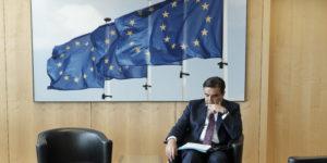 epa06787117 Spokesperson of the European Commission Margaritis Schinas prepares a speech ahead of the meeting of Erna Solberg, Prime Minister of Norway with European Commission President Jean-Claude Juncker in Brussels, Belgium, 05 June 2018.  EPA-EFE/OLIVIER HOSLET