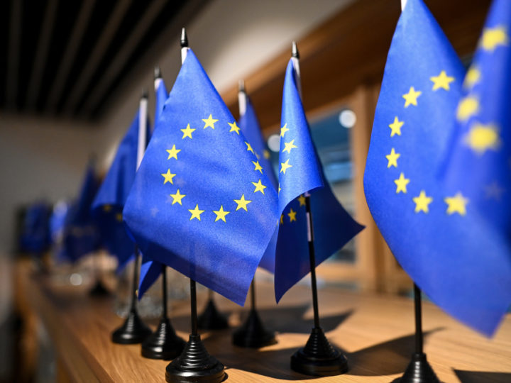 epa07512272 Europe flags stand in a gift  shop on a table at the European Parliament in Strasbourg, France, 17 April 2019.  In May elections will be held for the European Parliament.  EPA-EFE/PATRICK SEEGER