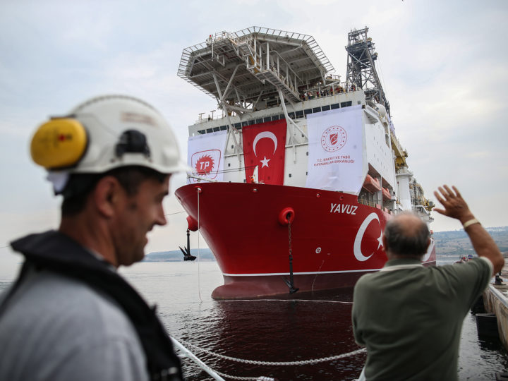 epa07660387 The Turkish drilling vessel Yavuz at Dilovasi port in city of Kocaeli, Turkey, 20 June 2019. Turkey's second drilling ship will operate off the Karpas Peninsula to the northeast of the island of Cyprus. Yavuz will be determined by geology and geophysics studies of the vessel and it will take place at a depth of approximately 1,000 meters on the seabed and some 3,000 meters of drilling will be made, Bilgin said, adding that the ship will move to its second location once the first drill is completed.  EPA-EFE/ERDEM SAHIN
