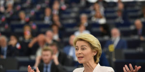 epaselect epa07719767 German Defense Minister Ursula von der Leyen and nominated President of the European Commission delivers her statement at the European Parliament in Strasbourg, France, 16 July 2019.  EPA-EFE/PATRICK SEEGER